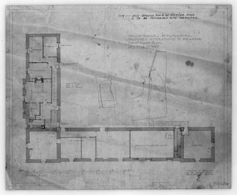 Photographic copy of drawing of proposed alterations to first floor plan of steading. Insc: 'Touch House, Stirlingshire, Proposed Alterations to Steading, First Floor Plan', 'Lorimer and Matthew, 17 Gt Stuart Street, Edinburgh, 19/4/28'.