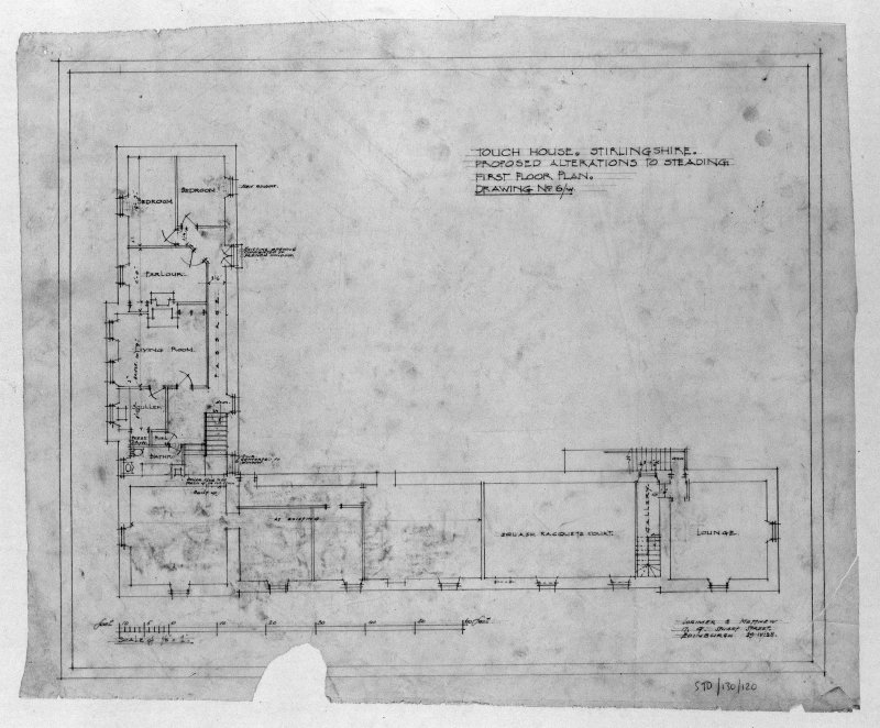 Photographic copy of drawing of proposed alterations to first floor plan of steading. Insc: 'Touch house, Stirlingshire, Proposed Alterations to Steading, First Floor Plan', 'Lorimer and Matthew', 17 Gt Stuart Street, Edinburgh, 19/4/28'.