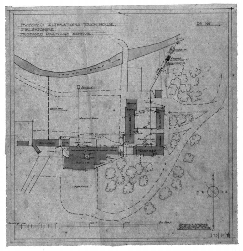 Photographic copy of drawing of proposed drainage scheme. Insc: 'Proposed Alterations, Touch House, Stirlingshire, Proposed Drainage Scheme', 'Lorimer and Matthew, 17 Gt Stuart Street, Edinburgh, 12/3/28'.