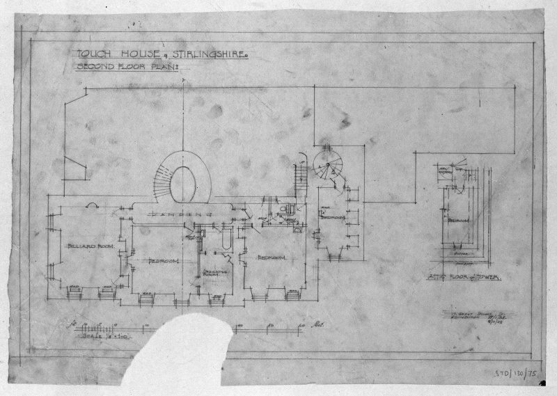 Touch House.  Photographic copy of drawing of second floor plan. Insc: 'Touch House, Stirlingshire, Second Floor Plan', '17 Great Stuart St., Edinburgh, 17/1/28, 18/11/28'.