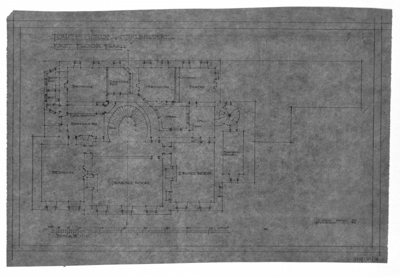 Photographic copy of drawing of first floor plan. Insc: 'Touch House, Stirlingshire, First Floor Plan', '17 Great Stuart St., Edinburgh, 16/01/28'.