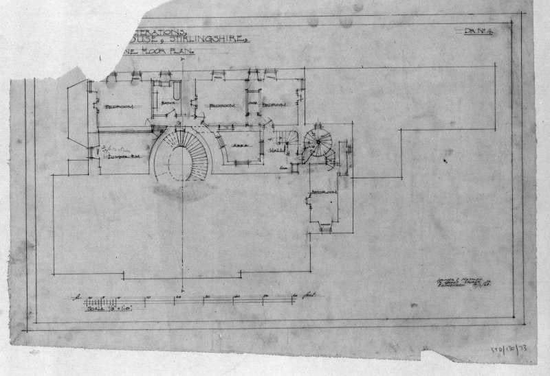 Photographic copy of plan of proposed alterations. Insc: 'Proposed Alterations, Touch House, Stirlingshire, [....]ne Floor Plan', 'Lorimer and Matthew, 17 Great Stuart St., Edinburgh, 17/1/28'.