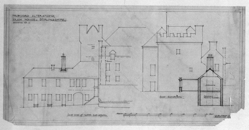 Photographic copy of drawing of proposed alterations to elevations. Insc: 'Proposed alterations, Touch House, Stirlingshire', 'East End of North Elevation', 'East Elevation', '17 Gt, Stuart St., Edinburgh, 29/[../28]'.