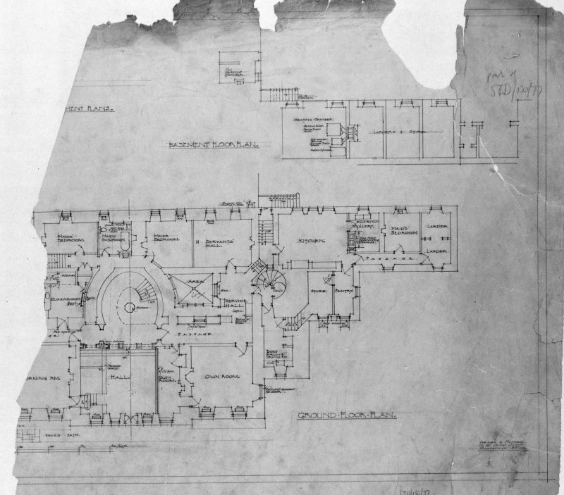Photographic copy of drawing of basement floor plan and ground floor plan. Insc: '[......] Basement Plans', 'Basement Floor Plan', 'Ground Floor Plan', 'Lorimer and Matthew, 17 Gt. Stuart Street, Edinburgh, 3/3/28'.