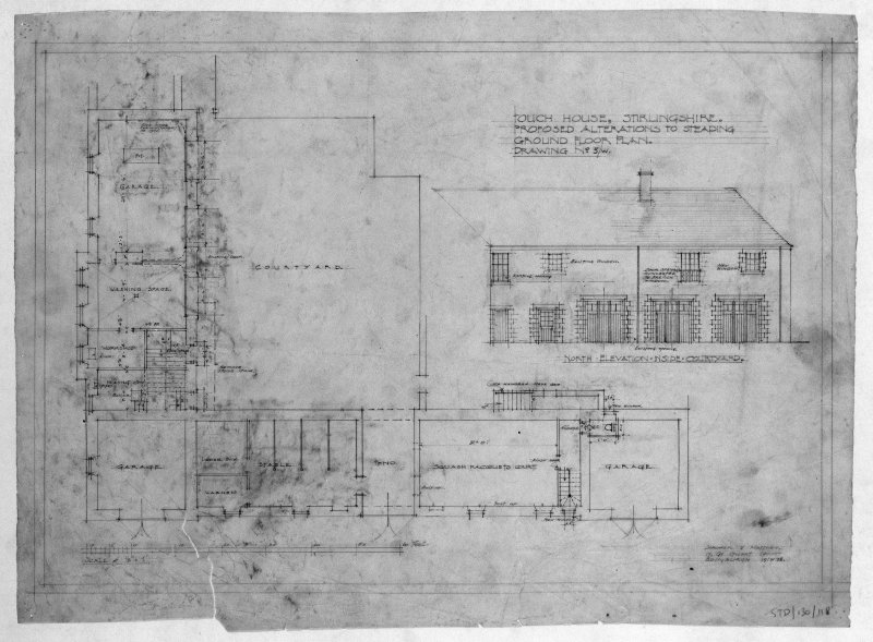 Photographic copy of drawing showing ground floor plan of proposed alterations to steading. Insc: 'Touch House, Stirlingshire, Proposed Alterations to Steading, Ground Floor Plan', 'North Elevation Inside Courtyard', 'Lorimer and Matthew, 17 Gt Stuart Street, Edinburgh, 19/4/28'.