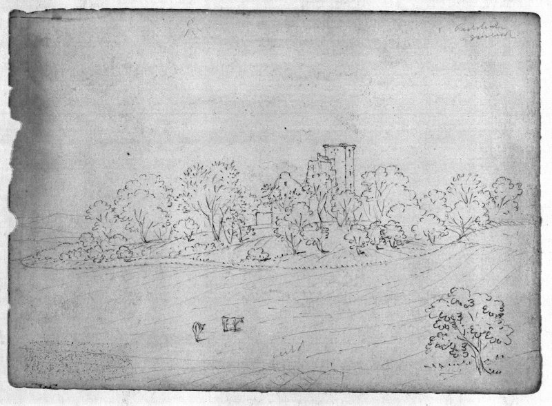 Photographic copy of George Stewart sketches: 'Ruins of Crookston Castle from the South.  The moat is very perfect all round & about 8 or 10 feet deep in some places. Kilpatrick hills in the distance.  June 1865.' Pencil.