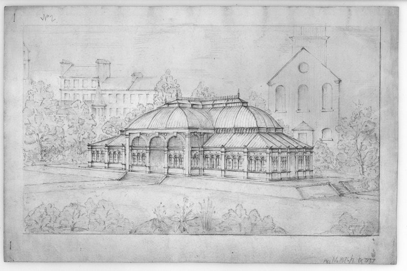 Photographic copy of view showing St Cuthbert's, James Weir building West Princes Street Gardens, sheet 2 of set of 6 sketches of proposed Winter Garden Unsigned. Pencil. Size  500 x 350