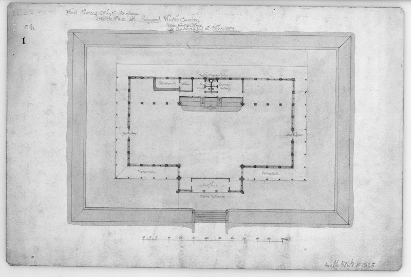 "Photograhic copy of ground plan of Winter Garden West Princes Street Gardens, sheet 2 of set of 9 drawings of proposed Winter Garden. Unsigned. Pencil and colourwash. Scale 1"":16'. Size 505 x 335."