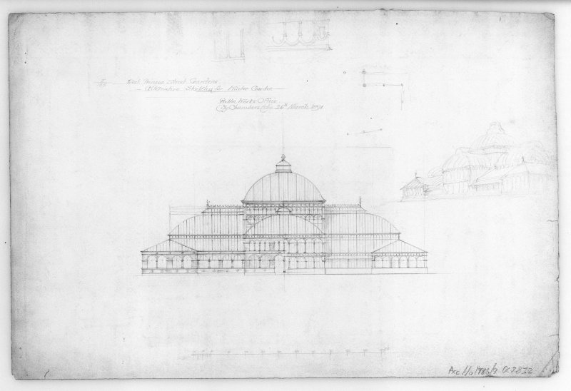 "Photographic copy of elevation.   West Princes Street Gardens, sheet 9 of set of 9 drawings of proposed Winter Garden Unsigned. Pencil. Scale 1"":16'. Size 505 x 335."