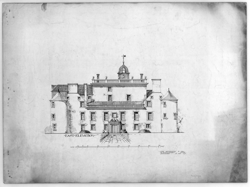 Photographic copy of drawing showing East elevation of Hatton House From a portfolio of drawings titled: 'Hatton House, Alterations for William Whitelaw, Esq.'