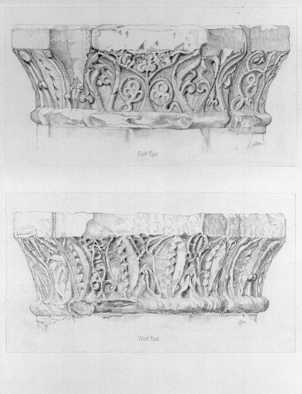 Iona, Iona Abbey. Photographic copy of plan of chapter-house arcade showing detail of carved capital.