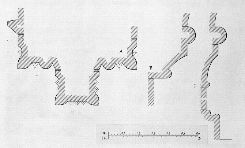 Iona, Iona Abbey. Photographic copy of plan showing chapter house arcade profile mouldings.