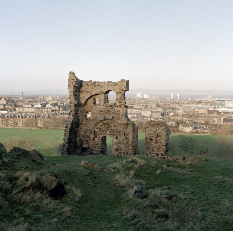 Holyrood Park: view of St Anthony's Chapel and Hermitage from S. Background view of North Edinburgh, Leith and Inchkeith