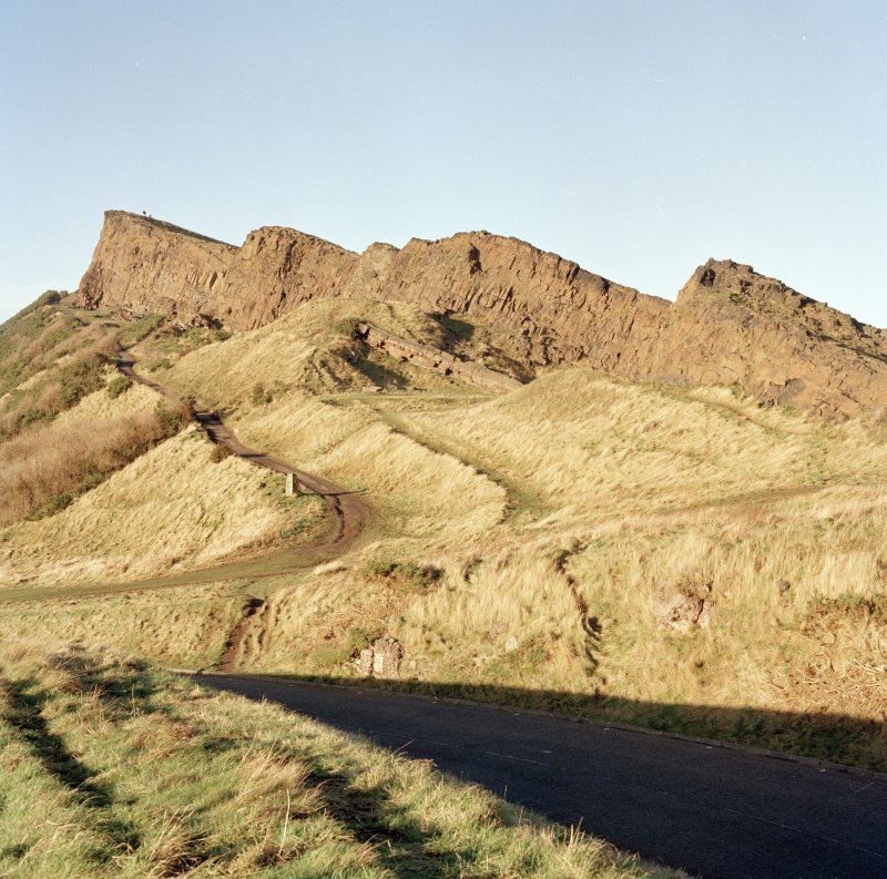 Holyrood Park: view of S end of Salisbury Crags, showing archaeological features