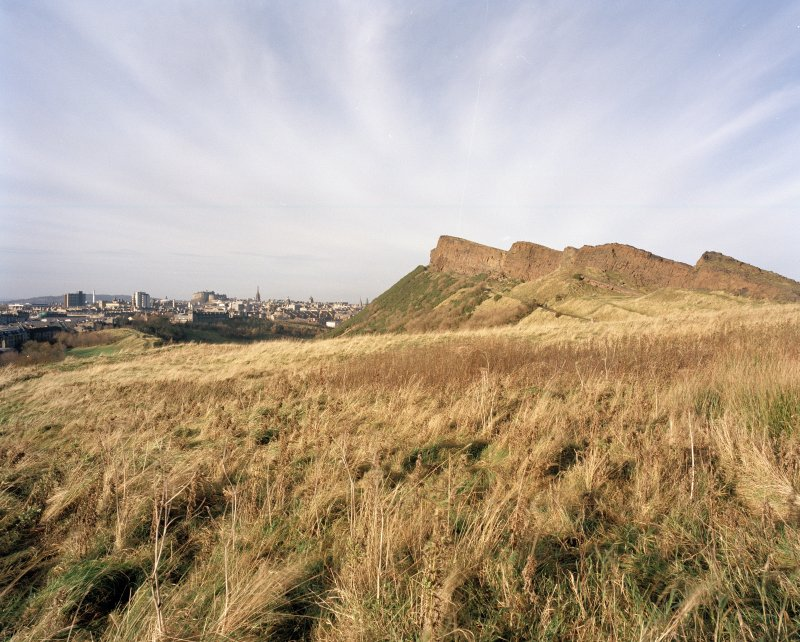 Holyrood Park: view of S end of Salisbury Crags