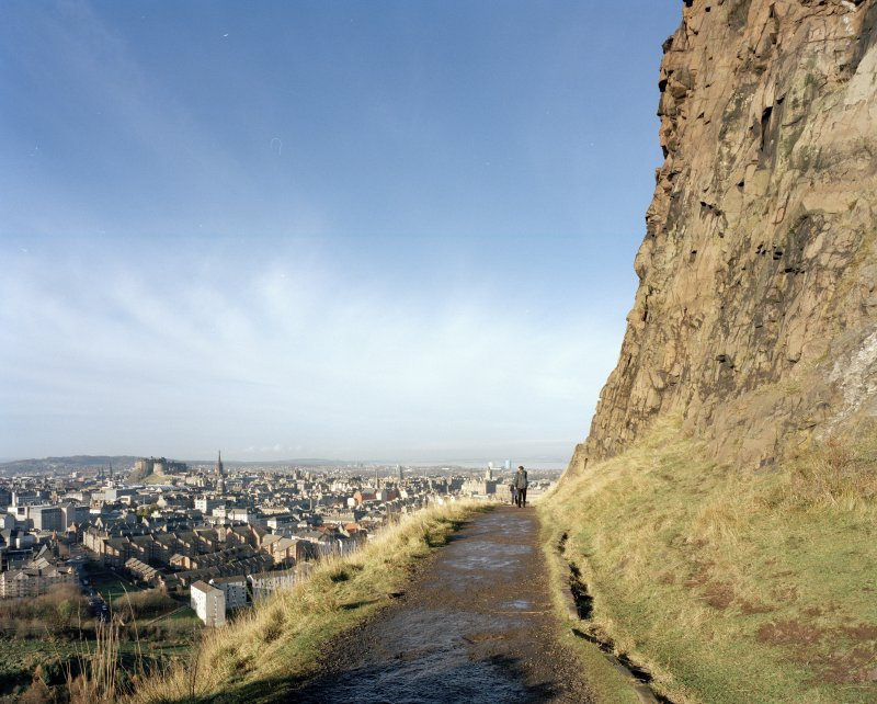 Holyrood Park: view looking N across Edinburgh from Radical Road