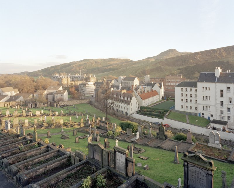 Holyrood Park and Palace: general view from Calton burial-ground