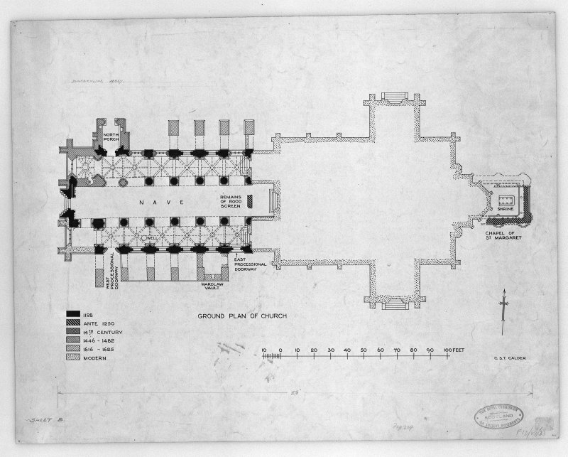 "Photographic copy of drawing showing ground plan of Dunfermline Abbey, New Abbey Parish Kirk showing building periods. Pen and ink. Scale 1"":13"""