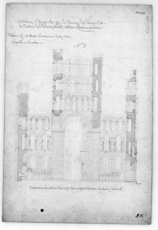 Kelso Abbey. Photographic copy of section looking West. Titled: 'Abbey Church of S. Mary Ye Virgin & S. John Ye Evangelist. Kelso Roxburghshire.  No.1184',  'Transverse Section through transepts & tower looking West. Scale 1/8