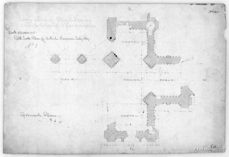 Kelso Abbey.  Photographic copy of ground plan. Titled: 'Abbey Church of S. Mary the Virgin and S. John the Evangelist at Kelso Roxburghshire.  No.1180' Scale 1/8.