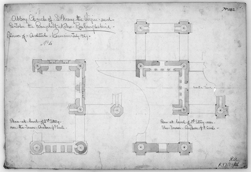 Kelso Abbey. Photographic copy of first and second floor plans of the tower. Titled: 'Abbey Church of S. Mary the Virgin and S. John the Evangelist. Kelso Roxburghshire.  No.1182'