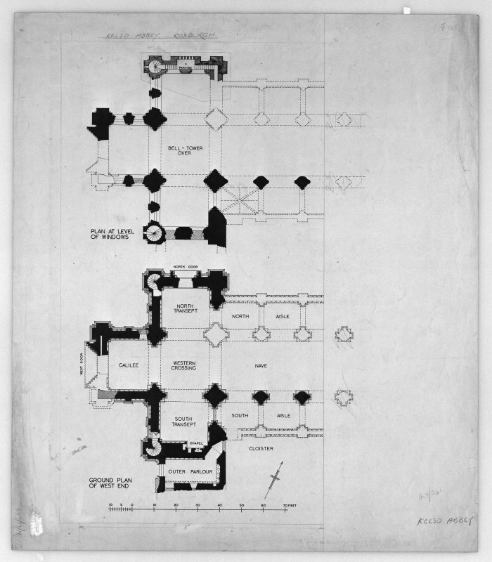 Photographic copy of plans of Kelso Abbey, insc: 'Plan at level of windows', 'Ground plan of West end'