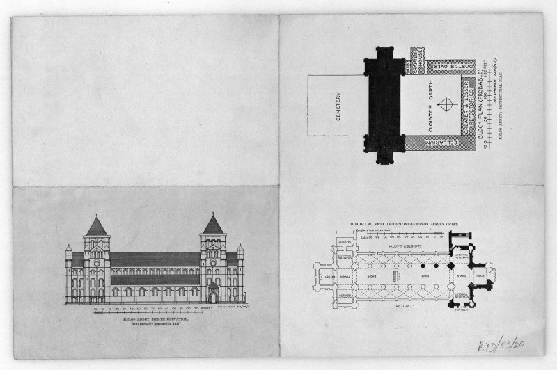 Photographic copy of conjectural North elevation and plans, insc: 'Kelso Abbey: North Elevation  As is probably appeared in 1517', 'Kelso Abbey: conjectural ground plan of church', 'Kelso Abbey: conjectural plan'