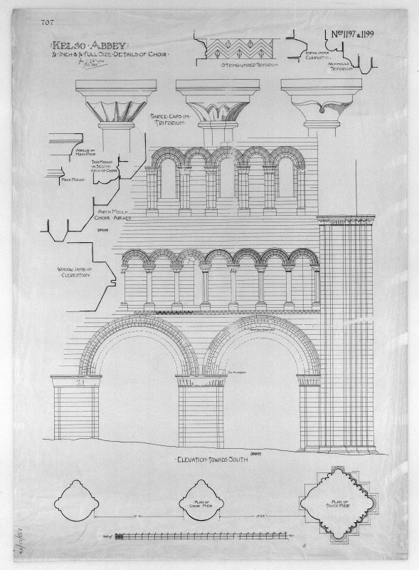 Photographic copy of details of choir, insc: 'Kelso Abbey: 1/2 inch & 1/4 full size detail of choir'. Signed: 'Tom T. Rutherford July 1902'