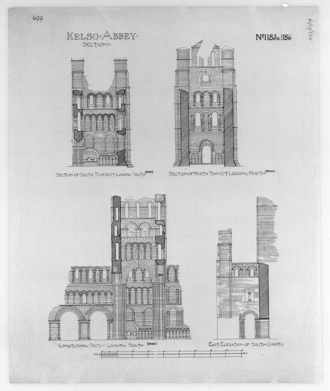 Photographic copy of sections and East elevation of South Chapel, insc: 'Kelso Abbey: Sections. No.1185 & 1186'