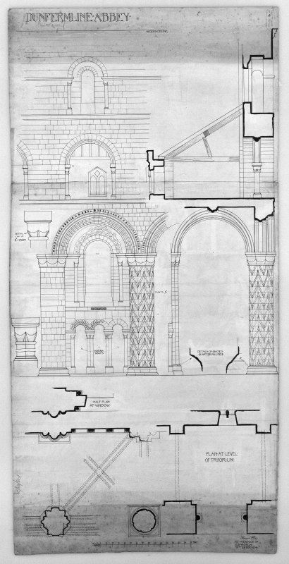 "Photographic copy of drawing showing details of North aisle of nave, plan at triforium, vaulting etc. Insc: 'Thomas Ross. 65 Frederick St. Edinburgh. September 1904.' (Measured and drawn)  Pen and ink. Scale 1"":2'."