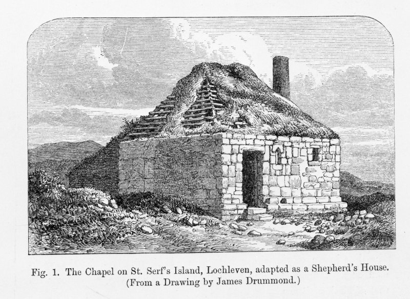 Loch Leven, St. Serf's Island, The Chapel. Photographic copy of engraved general view.