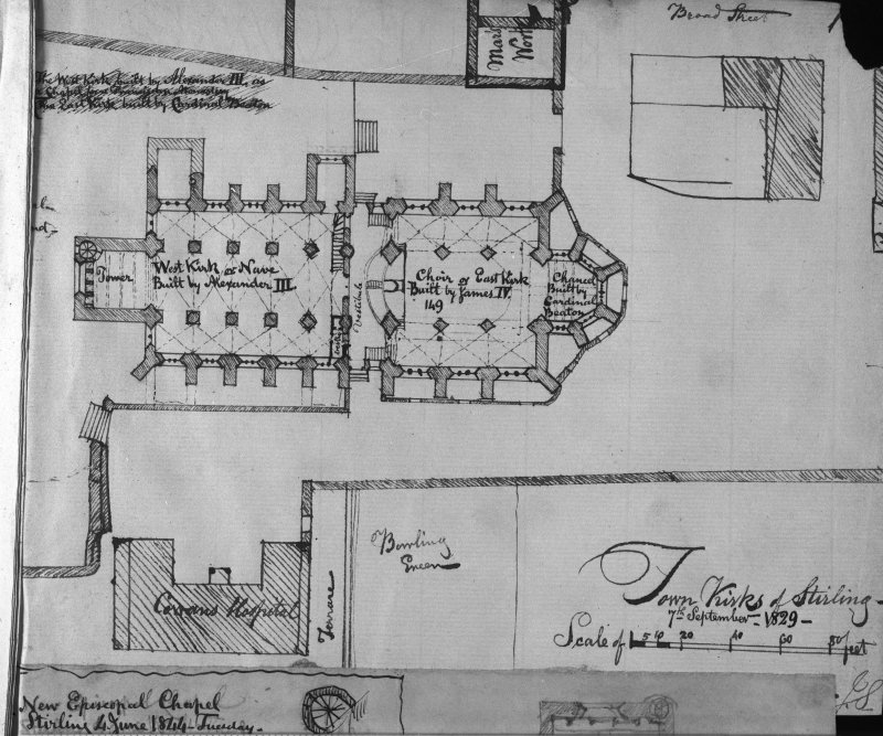 Photographic copy of drawing showing plan of Church of the Holy Rude, Stirling.