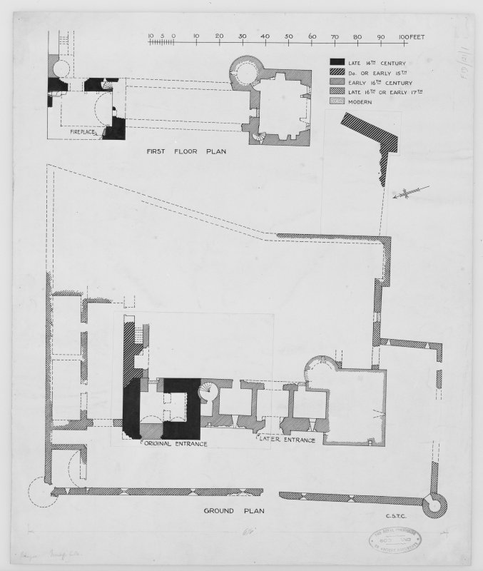 Photographic copy of plans, ground and first floor, showing building periods.