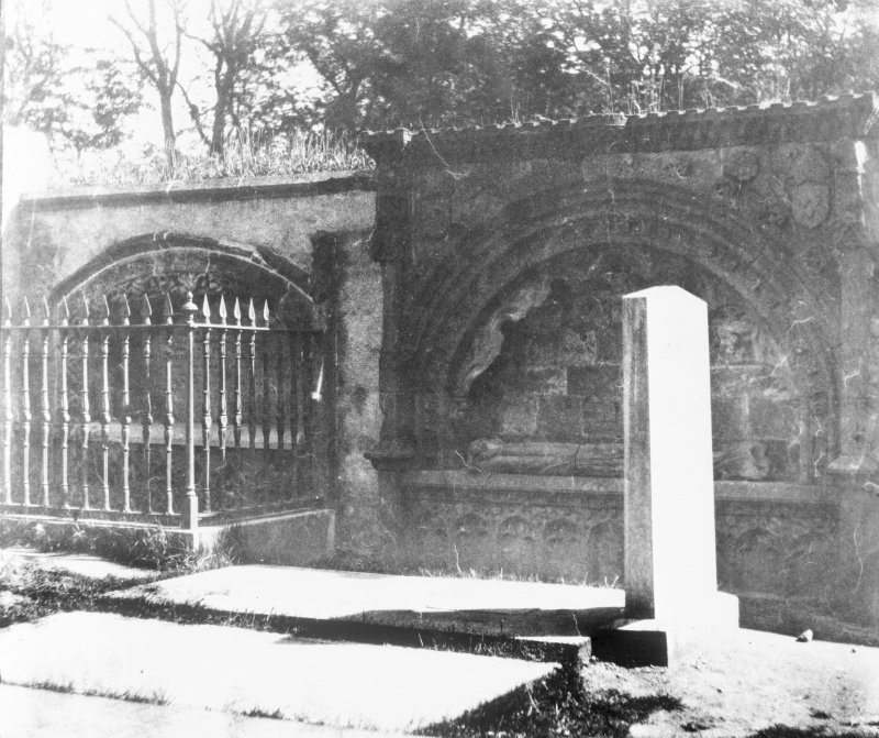 Aberdeen, St. Machar's Cathedral. Copy of historic photograph showing view of Bishop Dunbar's tomb with unidentified effigy.