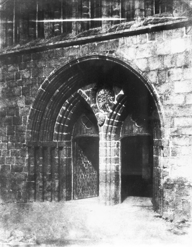 Aberdeen, St. Machar's Cathedral. Copy of historic photograph showing view of West door.