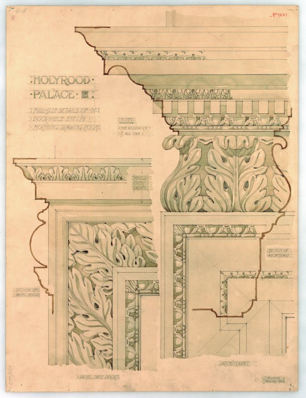 "Photographic copy of drawing showing ""Holyrood Palace, Edinburgh: Details of Doorpieces in Morning Drawing Room"" Mens. et delt. J. Gillespie  1900 Pencil and colour wash. Scale full size."