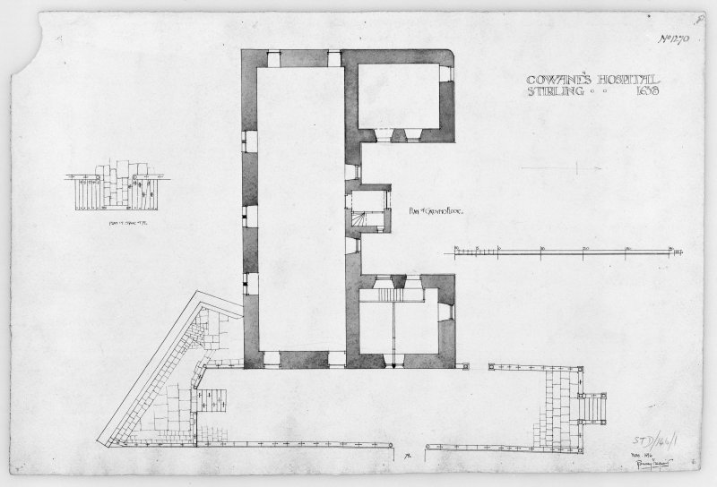 Photographic copy of drawing showing plan of ground floor and plan of stair.