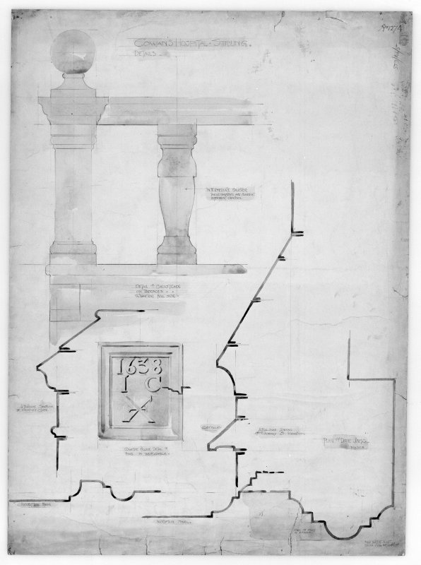 Photographic copy of drawing of detail of balustrade and plaque and plan of door jamb.