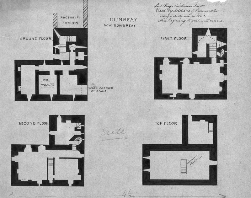 Photograhic copy of ground, first, second and top floor plans inscribed: 'Lord Reays Caithness Seat.  Used by Soldiers of Cromwell, occupied down to 1863, Now beginning to fall into ruins.'