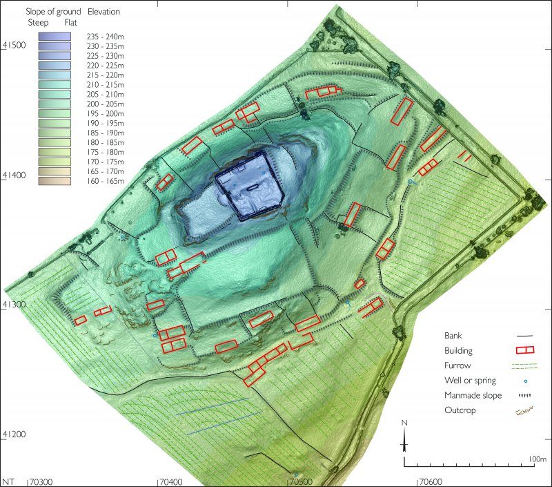 Plan of Hume Castle and its environs, based on a UAV photography derived height model
