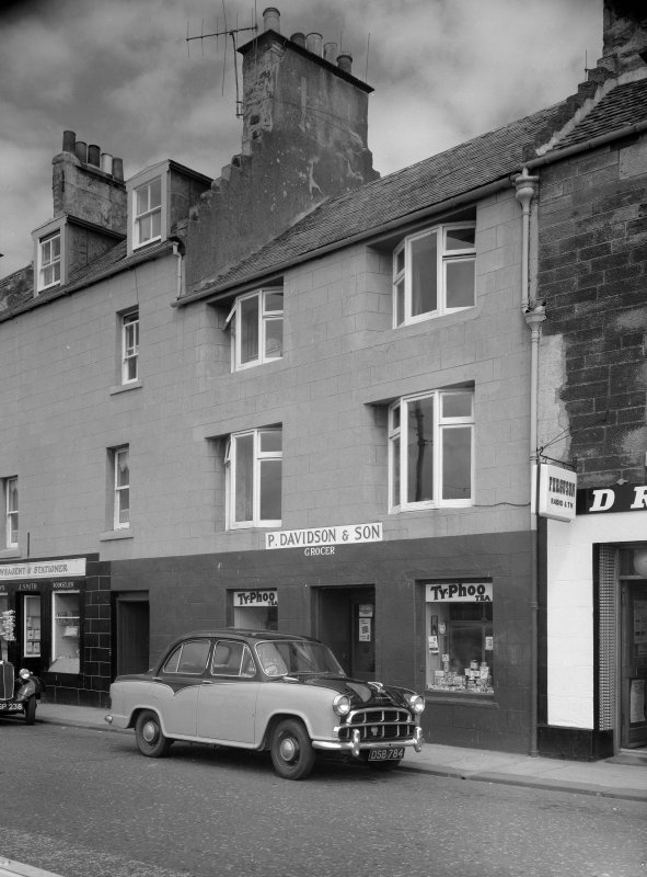 View of 35-36 Shore Street, Anstruther Easter, from S, showing the premises of P. Davidson & Son Grocer.