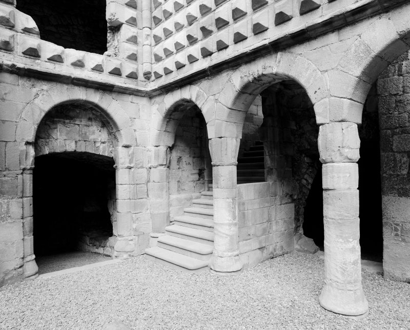 View of stair and arcade in N range, Crichton Castle.