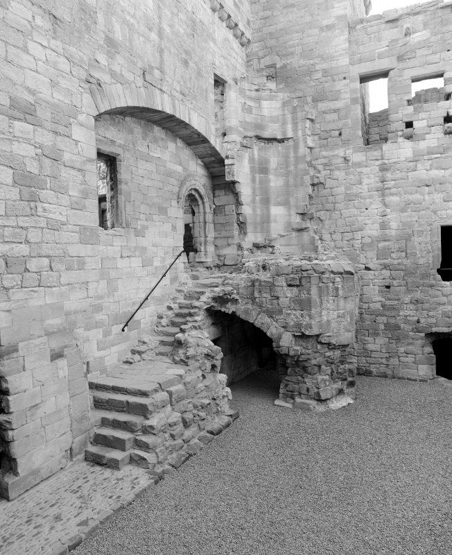 View of forestair and entrance to keep-gatehouse from courtyard, Crichton Castle.