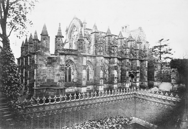 Roslin, Roslin Chapel. Copy of historic photograph showing view from South West.