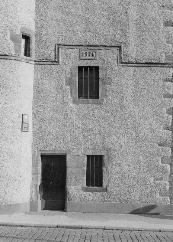 View of entrance and 1576 date stone, Tolbooth, Dysart, from W.