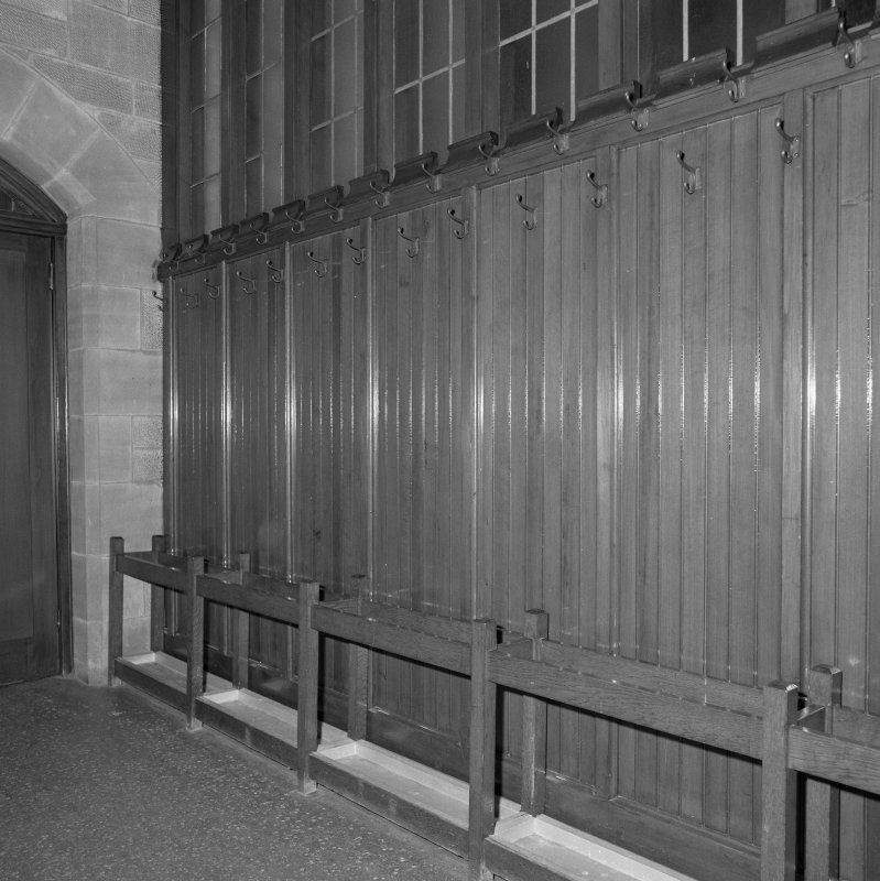 Rear of church, lobby, cloakroom fittings, detail