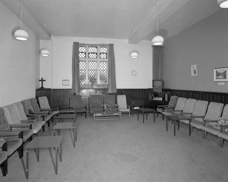 Church halls, ground floor, lower hall, meeting room, view from E