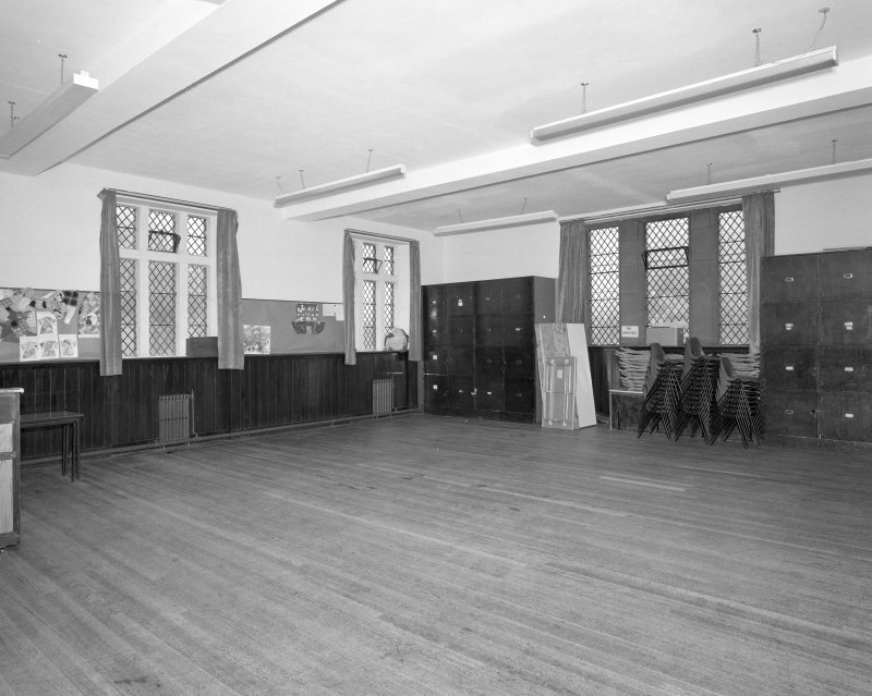 Church halls, ground floor, lower hall, meeting room, view from SE