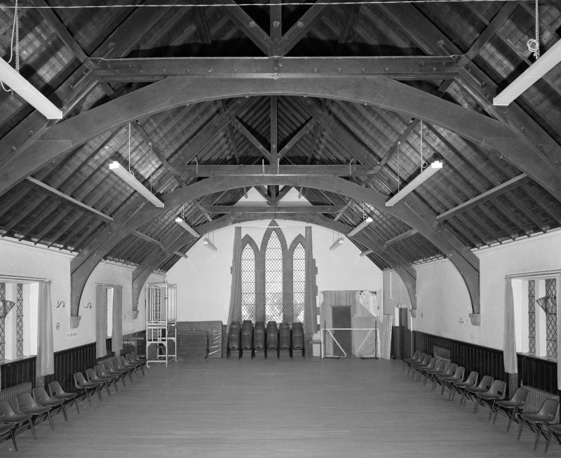 Church halls, first floor, upper hall, view from S