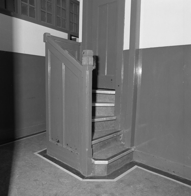 Church halls, first floor, upper hall, stage access stair, detail